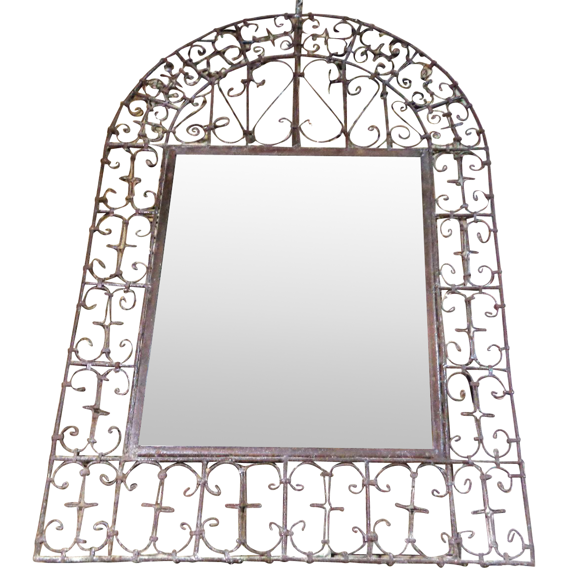 19th century antique spanish wrought iron mirror from for Wrought iron mirror