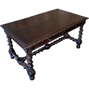 19th Century Antique French Louis XIII Style Oak Desk