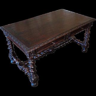 19th Century Antique French Louis XIII Style Oak Desk