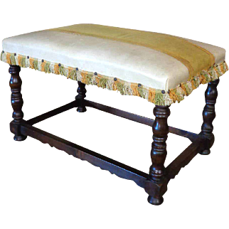 19th Century Antique French Louis XIII Style Walnut Bench