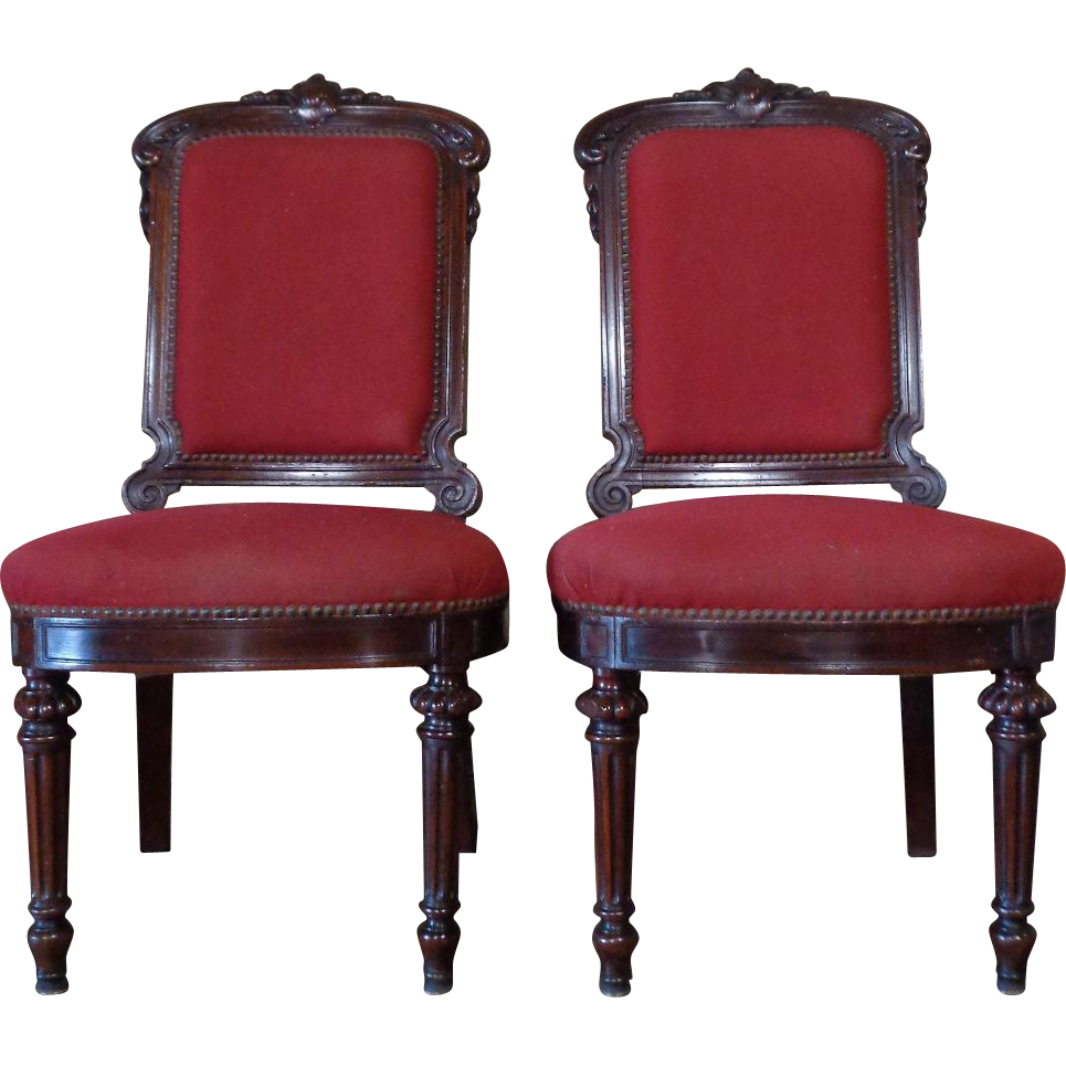 Pair of 19th Century Antique French Napoleon III Period Chairs Chauffeuse