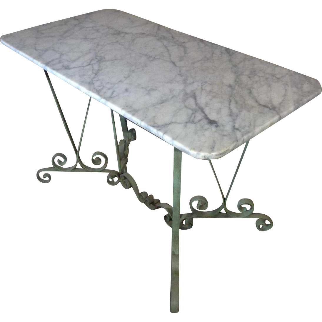Antique French Provencal Wrought Iron Bistro Table