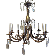 Antique French Louis XVI Style Bronze 8-Light Crystal Chandelier