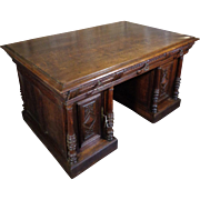 19th Century Antique French Renaissance Style Oak Partner Desk