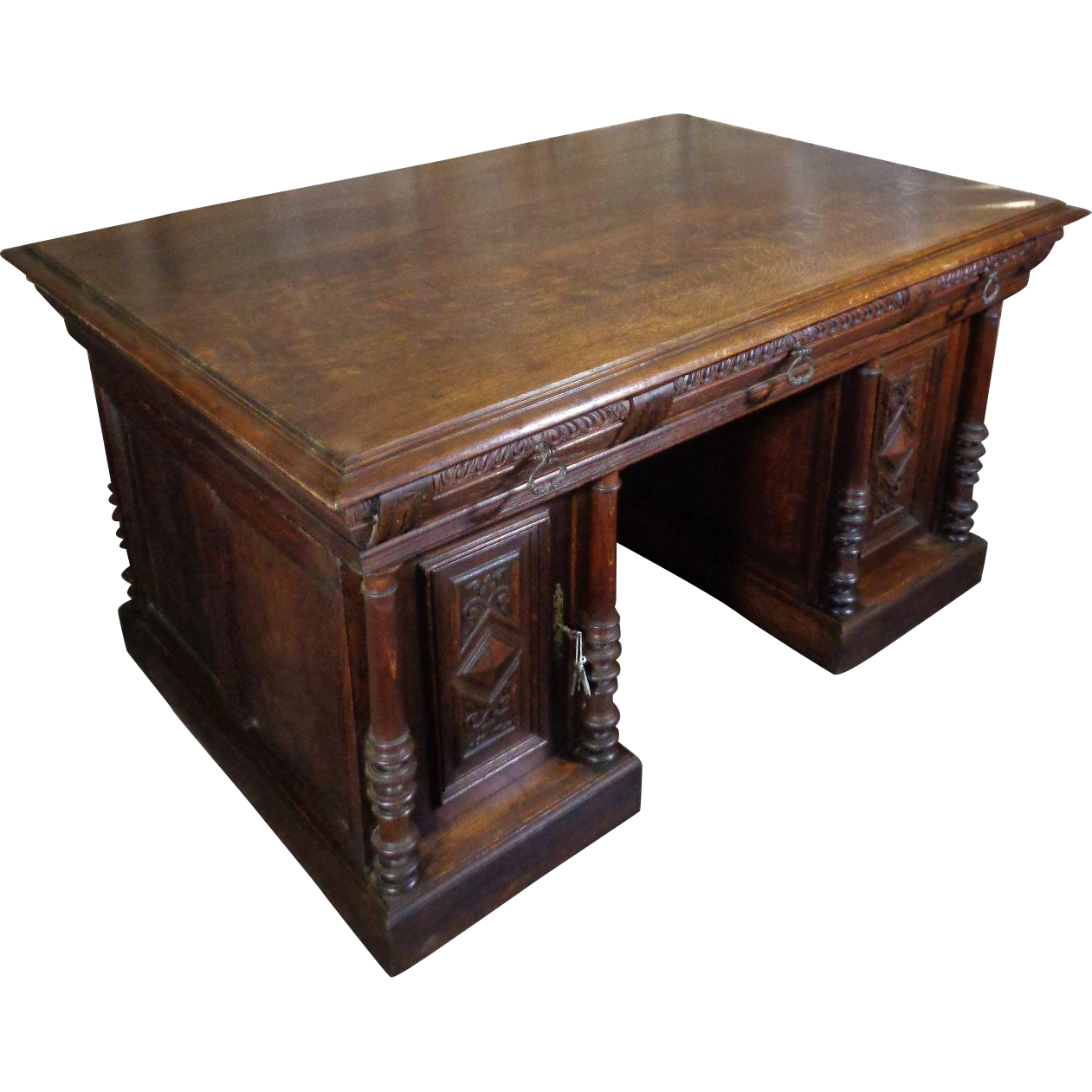 Antique Oak Partners Desk Antique Furniture