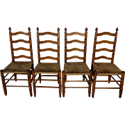 Set of 4 Antique French Ladder Back Oak Chairs
