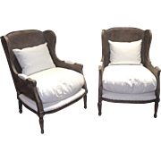 Pair of 19th Century Antique French Louis XVI Style Caned Bergeres Armchairs