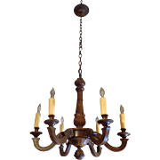 Antique French Louis XV Walnut 6-Light Chandelier