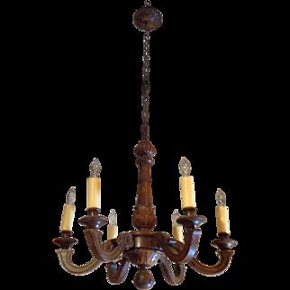 Antique French Louis XV Walnut 6-Light Chandelier