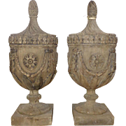 Pair of 19th Century Antique French Oak Finials