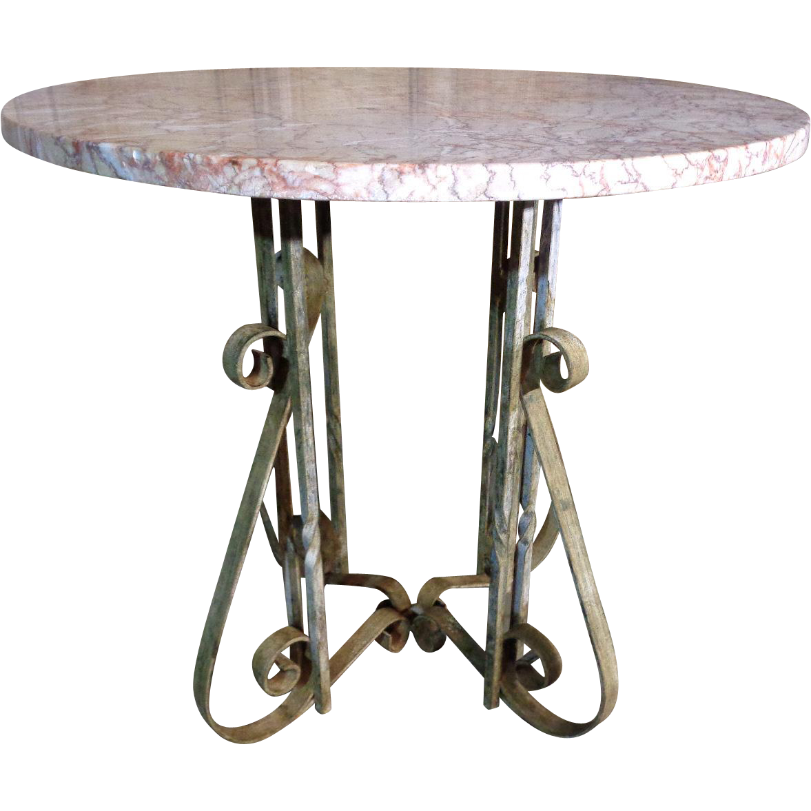 vintage french wrought iron round coffee table from