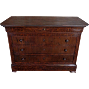 19th Century Antique French Louis Philippe Period Mahogany Commode