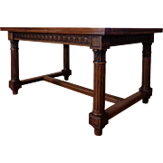 Extendable 19th Century Antique French Renaissance Style Walnut Dining Table