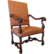 19th Century Antique French Louis XIV Style Walnut Armchair