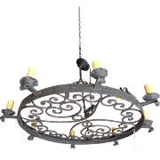 Antique French Wrought Iron 8-Light Round Chandelier