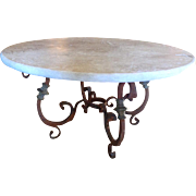 19th Century Antique French Louis XIV Style Round Wrought Iron Coffee Table