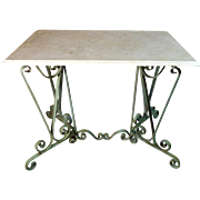 Antique French Louis XV Style Wrought Iron Bistro Table