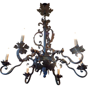 Antique French Louis XV Style Wrought Iron 6-Light Chandelier