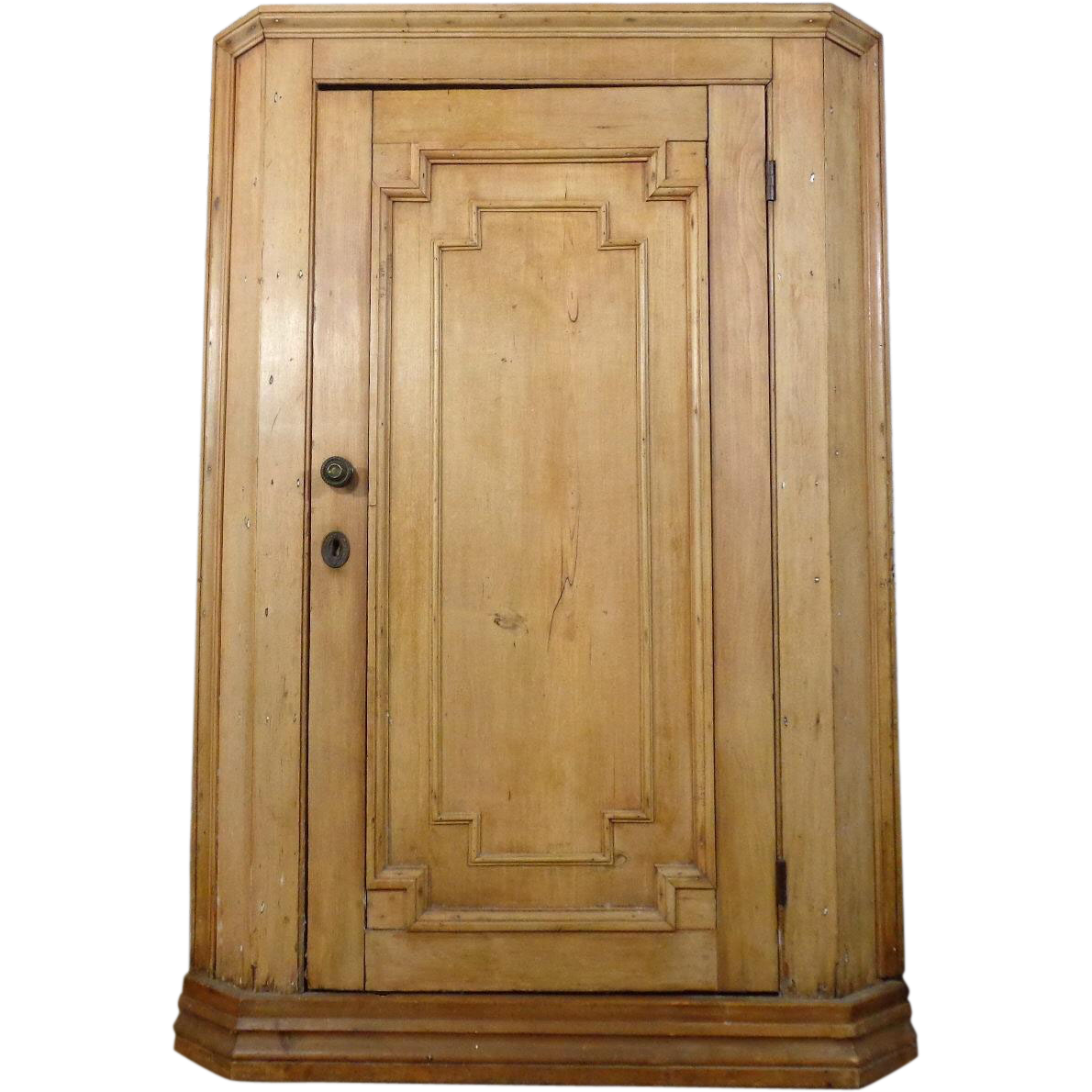 19th Century Antique Swedish Pine Corner Cabinet