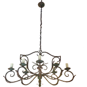 Antique French Louis XV Style Wrought Iron 8-Light Chandelier