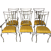 Set of 6 Vintage French Wrought Iron Dining Chairs