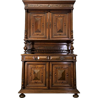 19th Century Antique French Renaissance Style Walnut Buffet Deux Corps