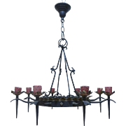 Antique French Wrought Iron 8-Light Chandelier
