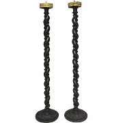 Pair of 19th Century Antique French Louis XIII Style Candlesticks
