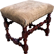19th Century Antique French Louis XIII Style Bench Stool