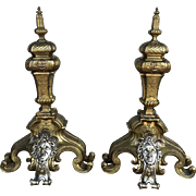 Pair of 19th Century Antique French Napoleon III Period Bronze Andirons
