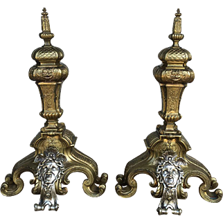 Pair of 19th Century Antique French Napoleon III Period Bronze Andirons