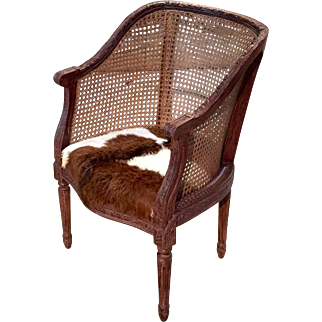 Antique French Louis XVI Style Cowhide Bergere Armchair