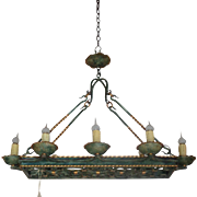 Antique French Louis XV Style 8-Light Wrought Iron Chandelier