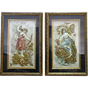 Pair of 19th Century Austrian Enamel Hammered Brass Allegorical Plaques