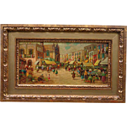 Oil on Wood Painting The Mediterranean Market