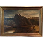 19th Century Antique English Oil On Canvas Painting