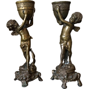 Pair of 19th Century Antique French Bronze Angels Candle Holders