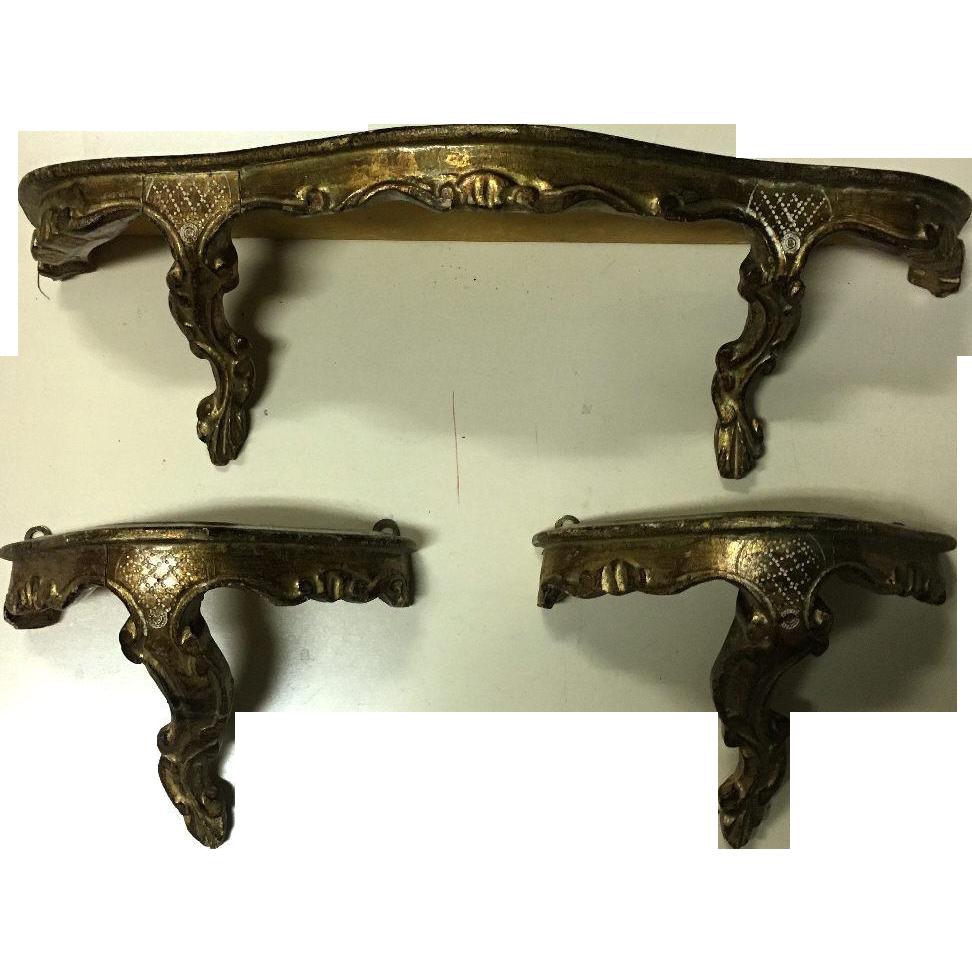 Set of 3 Italian Rococo Wall Consoles