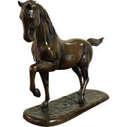 French Bronze Trotting Horse Sculpture
