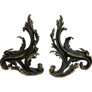 Pair of French Bronze Louis XV Style Rococo Andirons