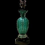 Vintage Art Deco French Aqua Blue Lamp