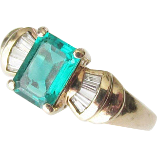 10K Gold Emerald and Diamond Baguette Ring