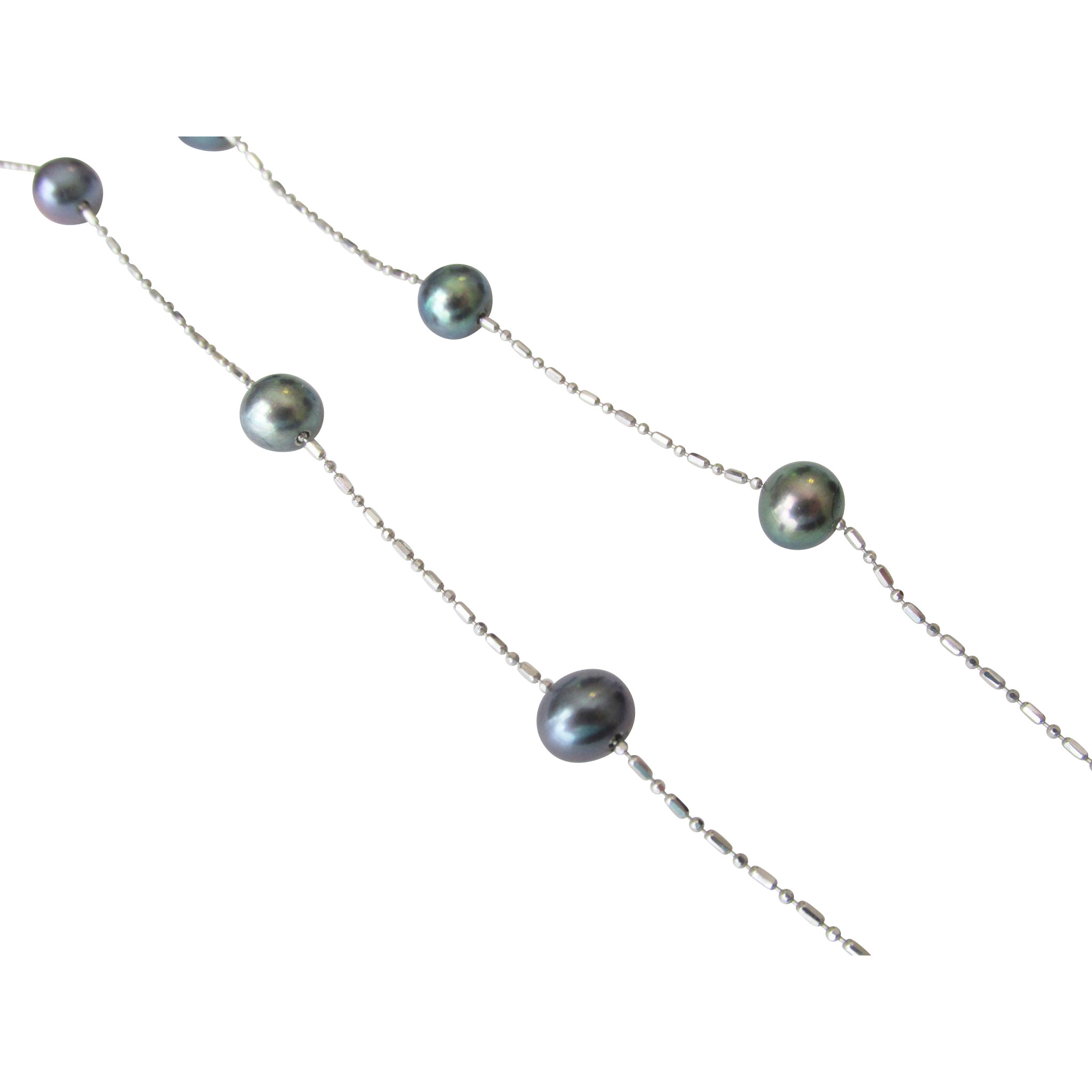 14K White Gold Cultured Pearl Peacock Color Station Necklace