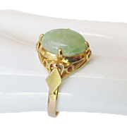 18K Apple Green Natural Jade Ring Stunning Art Deco Vintage