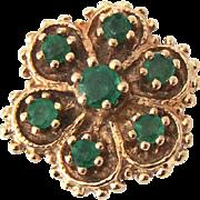 Vintage Emerald Robert Klein Signed 14K Gold Slide