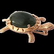 14K Vintage Gold Jade Turtle Brooch Pin