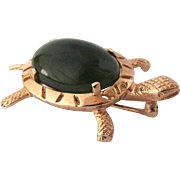 14K Vintage Gold Jade Turtle Brooch Pin