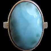 Vintage 14K Larimar Cabochon Ring