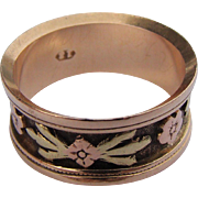 18CT  Antique Victorian Wedding Band Tri-Color