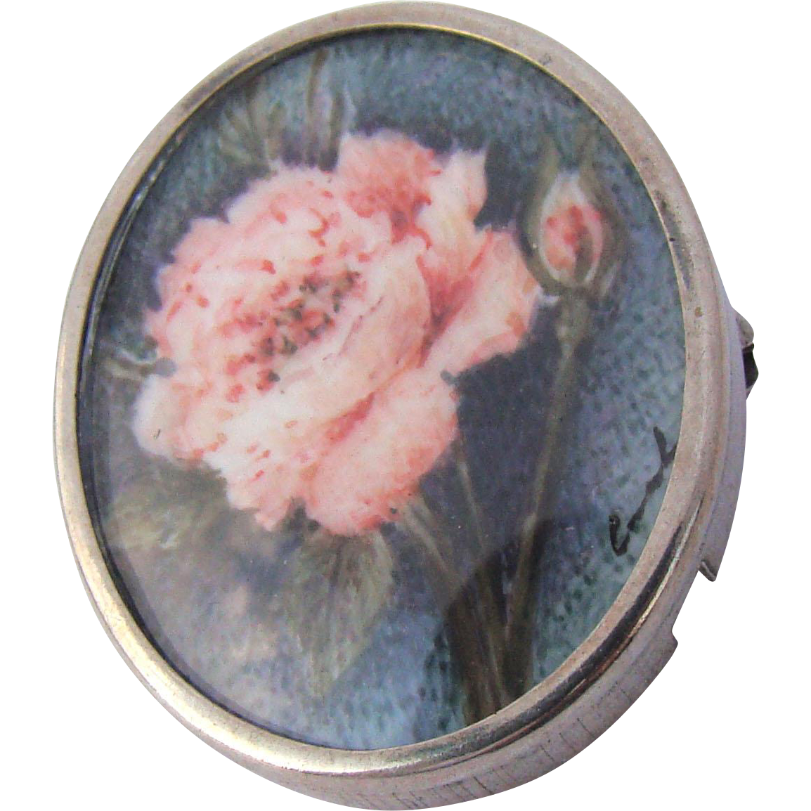 Lovely 800 Silver Signed Hand Painted Floral Miniature Pendant Brooch